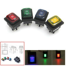4Pcs 3 Position On-Off-On 6Pin DC12V Waterproof Car Boat LED Rocker Power Switch