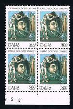ITALIA 1 QUARTINA CARLO GOLDINI COMMEDIOGRAFO 1993 nuovo** (BI11.377)