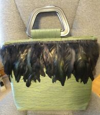 NEW HANDCRAFTED ARTISIAN GREEN & BLACK FEATHER & FABRIC HANDBAG W HANDLES