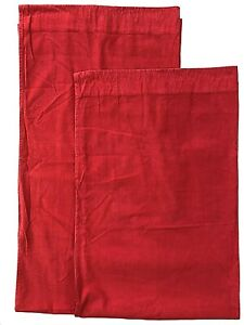 2 Pottery Barn Kids Corduroy Curtain Panels Pair Red Cotton 44x84 Unlined