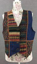 Signature by Jerell Womens Vest Size Medium Blue Brown Patch Vest Faux Velour