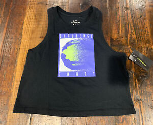 Nike Court Cropped Challenge Tennis Tank Top CW1536 Womens Size Black