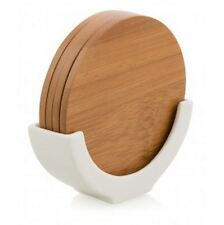 Set of 4 Circular Bamboo Coasters on a White Porcelain Stand - Round Coasters