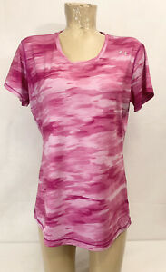"""Under Armour Pink Camo Athletic Shirt Size L Large 20"""" Short Sleeves Fitted"""