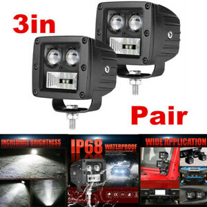 2x 3inch 128W LED Work Light Bar Pods Combo Beam Cube Offroad SUV ATV UTE