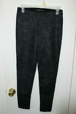 W&B ZARA COLLECTION BLACK EMBROIDERED FAUX LEATHER STRETCH LEGGINGS SIZE S