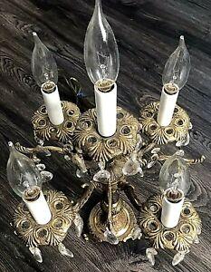 Vintage Brass Crystal Table Parlor Lamp Victorian 5 Bulb Candelabra Antique