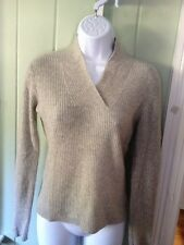 Investments 100% Cashmere Gray Ribbed Pullover Sweater V Neck  Collar XS