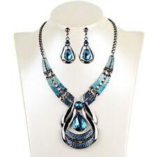 Fashion Vintage Blue Gemstone Necklace Earrings Water Drop Set Jewelry