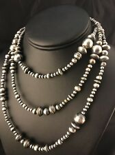 "48"" Long Navajo Pearls Native American Sterling Silver Necklace Gift"