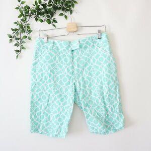 Peter Millar Women's Printed Golf Shorts Size 6 Seafoam Green & White