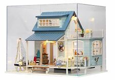 Dollhouse Miniature Kits Wood DIY House with Furniture+Cover Xmas Gift Caribbean