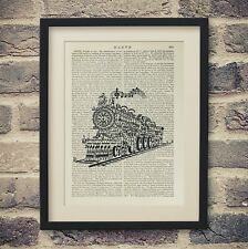 Train Song Antique Encyclopedia Art Print Old Book Page Man Cave Decor Railway