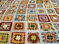 "Handmade Crocheted Afghan Blanket Granny Squares 72"" X 100"" Earth Tones ("