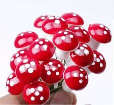 50 pcs Miniature Red Mushrooms Fairy Garden Terrarium Bonsai Crafts Dollhouse
