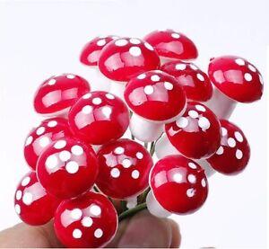 50 pcs Miniature Red Mushrooms Fairy Garden Terrarium Bonsai Crafts Dollhouse