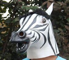 Zebra Head Mask, Costume Halloween Latex Prop Animal Creepy Novelty Cosplay