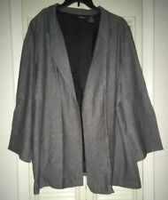 New~NIP~ROAMAN'S Denim 24/7 Open Front Lined Blazer Jacket~Gray, Black~Size 32W