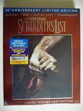 NEW/SEALED - Schindler's List (Blu-ray/DVD, 2013, 3-Disc Set, 20th Anniversary)