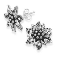Genuine Hallmarked 925 Sterling Silver Large Oxidised Flower Studs Stud Earrings