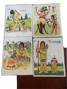 4 Playskool Golden Press Tray Puzzle  Indians 80-6A Complete Vintage LOOK!!!
