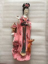 """Porcelain Chinese Lady (Girl) Statue in Pink Dress with Deer - 15"""" Tall"""