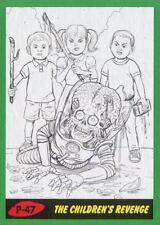 Mars Attacks The Revenge Green Pencil Art Base Card P-47 The Children's Revenge