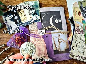 Vintage Ephemera Folder Gypsy Witch Spell Magic Palmistry witchcraft card kits