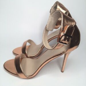 """PLEASER Amuse-10 Rose Gold 5"""" Heel Ankle Strap Sexy Sandal Women's US Size 12"""