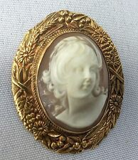 ANTIQUE CAMEO PIN - 14kt gold
