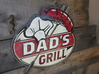 DADS GRILL SIGNS RETRO METAL COOL old school RUSTIC LOOK MAN CAVE GARAGE