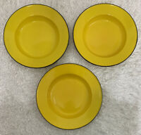 3 Vintage Yellow Enamelware Bowls Soup Cereal Fruit Display Shallow Large 10""