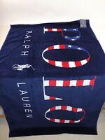 NWT $95 RALPH LAUREN 35x66 Navy POLO Americana Velour Beach Towel
