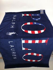 NWT $95 RALPH LAUREN 35x66 Navy POLO Americana Velour Beach Towel