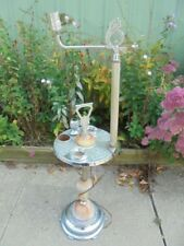 Vintage Art Deco Chrome & Slag Glass Electric Smoke Stand Lamp