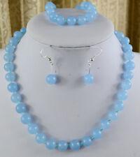 "10mm Natural Blue Aquamarine Gemstone Necklace Bracelet Earring Set 18"" AAAA+R"