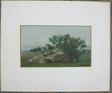 Olive Black c.1890 painting Pulpit Rock Clark's Island MA Cambridge woman artist