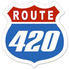 "Route 420 Marijuana Pot Smoker Funny car bumper sticker decal 4"" x 4"""