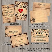 Alice in Wonderland Vintage Wedding Invitations, Custom, RSVP, Envelope, set