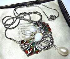 In argento vintage art nouveau stile Plique una collana con ciondolo JOUR Marcasite