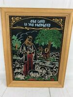 Vintage The Lord Is My Shepherd Finished Needlepoint Religious Jesus Framed