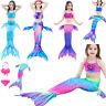 Fairy Girls Swimmable Mermaid Tail Bikini Swimwear Sea-maid Swimsuit Costume Set