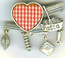 Italian Vintage Brooch Pin w- Pillow Heart, PASTA Script, Charms; Ant Silver New