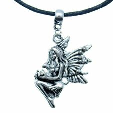 """AVBeads Choker Necklace 18"""" Black Cord with Silver Fairy Charm Pendant 1002"""