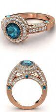 2ct Blue Topaz and Round Cut Diamond Halo Engagement Ring 14k Rose Gold Finish