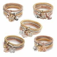3pcs/Set Animal Elephant Crown Crystal Love Heart Bracelet Bangle Women Jewelry