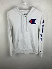 Champion Authentic Sweatshirt Hoodie White Blue Small Big Logo Spell out Sleeve