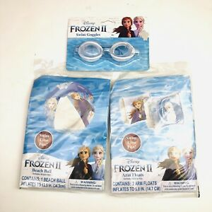 Frozen II Disney Arm Floats Beach Ball Goggles Lot of 3 Inflatable Swim Toy New