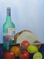 Original watercolor painting, watercolor, art, Still life Wine and Fruit