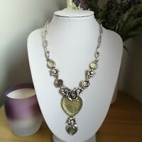 Statement Steampunk Silver Tone Plastic Heart Flower Chain Chunky Necklace Punk